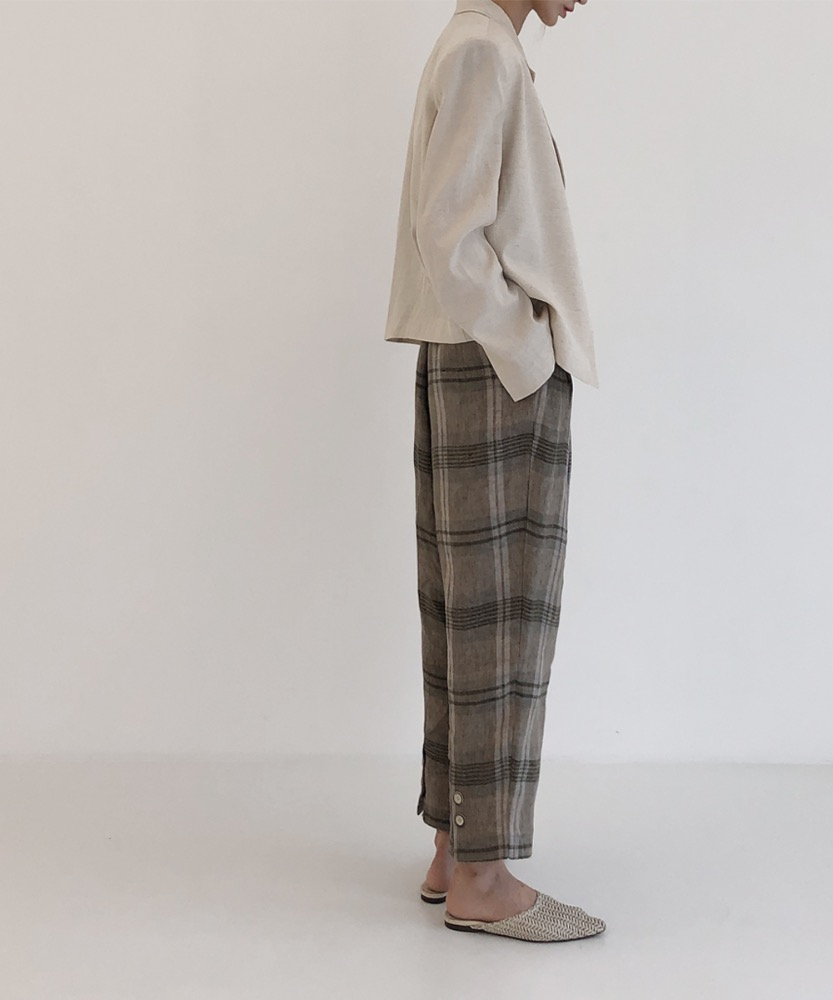 19S/S-03.LINEN BACK BUTTON CROP PANTS [BEIGE]