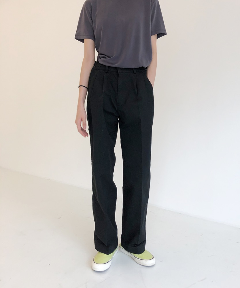 Buckle cotton straight pants