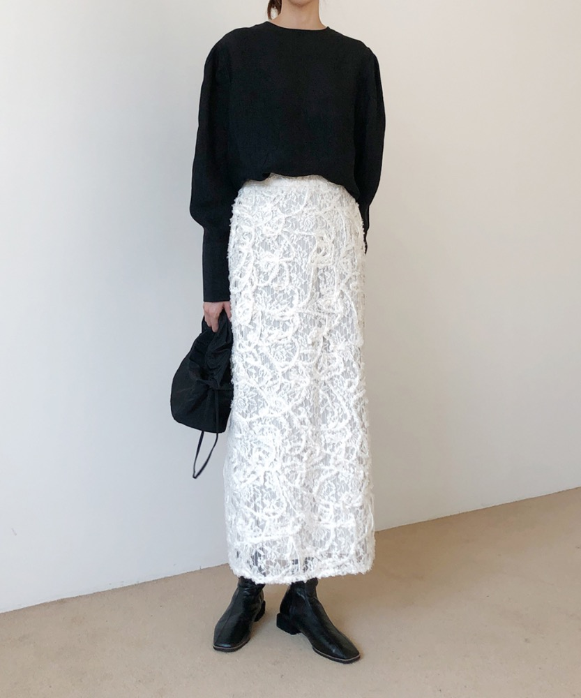 Lace H-line long skirt