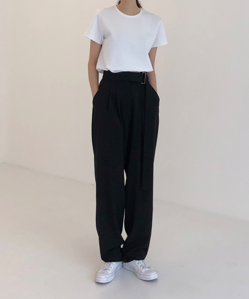 19FW-01. BELT MAXI LONG SLACKS [BLACK]