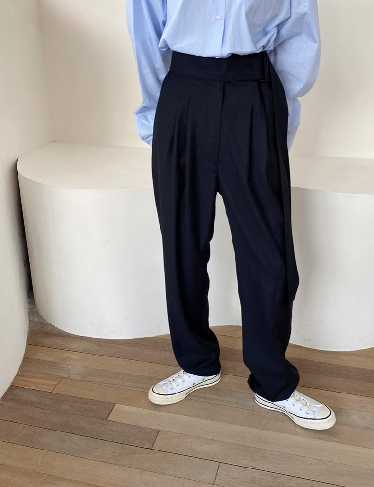 20FW - 02. CHECK BELT MAXI LONG SLACKS [NAVY]